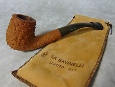 Vtg Estate La Savinelli Punto Oro 606KS Smoking Tobacco PIPE Rustic Italy w/ Bag