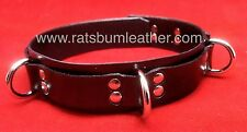 Black Leather 4 d ring LOCKABLE Collar restraint cuff steam punk adult