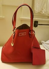 DKNY RED SAFFIANO LEATHER SIDE ZIPPERS LARGE TOTE BAG