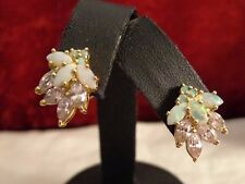 Yellow Gold over Sterling SIlver Opal & Pink CZ Pierced Earrings
