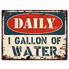 PP1399 DAILY 1 GALLON OF WATER Plate Rustic Chic Sign Home Store Shop Decor Gift