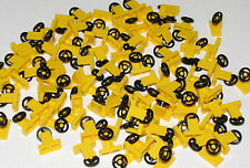 LEGO LOT OF 100 NEW YELLOW STEERING WHEELS CAR VEHICLE PIECES