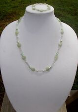 Green Aventurine Hearts and Freshwater Pearl Handmade Necklace & Bracelet Set