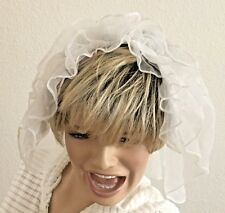 """Sheer 17"""" White Wedding Confirmation Pin on Veil with Ruffle Edge Hat"""