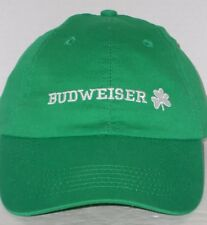 Budweiser The King of Beers Green Irish Shamrock Embroidered Cap Touch Fastener
