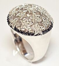 Sterling Silver 925 with I2 Diamond Stars Design Big Bold Round Dome Ring Size 7