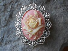 2 IN 1- PALE YELLOW -  PINK, PEACH ROSE CAMEO BROOCH / PIN / PENDANT - SPRING