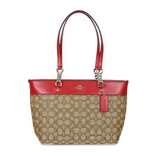 COACH SOPHIA KHAKI RED SMALL TOTE BAG 37118
