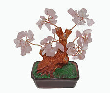 Chinese Feng Shui Bonsai Pink Rose Natural Crystal Gem Stone Money Tree 5""