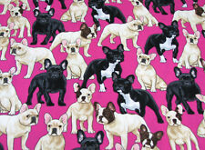 "23"" REMNANT FRENCH BULLDOG BULL DOG PUPPIES TIMELESS TREASURE 100% COTTON FABRIC"
