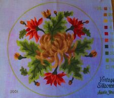 "nos FLOWERS FLORAL vintage silkscreen needlepoint canvas #3001 round 14"" d"
