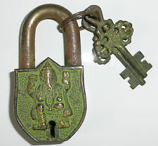 *Beautiful* Antique Finish Hindu Lord Ganesh Virdigris Brass Padlock 9cm