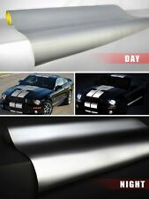 Silver / White reflective vinyl film 1ft x 4ft adhesive DIY VViViD car wrap roll