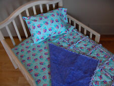 CARE BEAR Toddler or Crib Bedding Rag Quilt & Sheet & Pillow Case Cotton Flannel