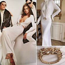Gucci by Tom Ford Iconic 2004 Ad Campaign Low Cut White Dress w Dragon Jewel  42