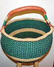 Large Green And Blue African Bolga Basket