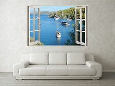 Sail Boat Cove Scene 3D Full Colour Window Home Wall Art Stickers Mural Decal
