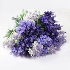 10-heads Lavender Fake Silk Flower Leaf Artificial Home Wedding Decor Bouquet