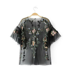Womens Floral Embroidered Mesh See-through Short Sleeve Tops Blouse