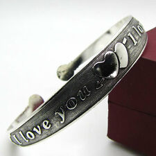 LMFR23QiuBTe charming two heart loving tibet silver bracelet cuff bangle