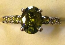 OLIVE PERIDOT RING STERLING SIZE 9/10/11