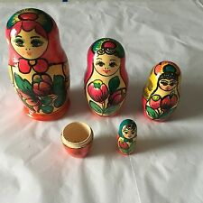 "Vintage RUSSIAN NESTING DOLLS The Largest Doll is 5"" Tall Bright Paint"