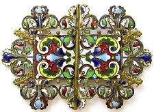 ANTIQUE OLD FRENCH CHAMPLEVE ENAMEL FLORAL ART NOUVEAU BELT BUCKLE*JEWELRY*772D