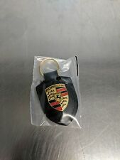 OEM Genuine Porsche Black Crest Leather Key Ring WAP0500900E