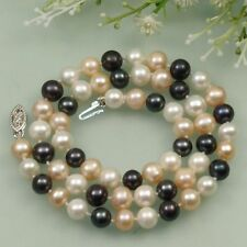AA 7-8mm Black White Pink Cultured Fresh Water Akoya Pearl Necklace 18''