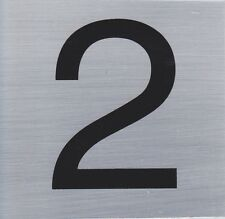 HOUSE NUMBER 2 10x10cm, Brush Stainless Steel Look, Self Adhesive - S009