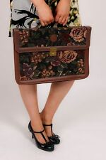 Large vintage tapestry embroidered Hawa satchel briefcase attache