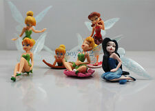 6PCS SET DISNEY FAIRIES TINKERBELL FIGURES CAKE TOPPER KID TOY