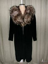 Stunning Vintage Wool Blend Open Front Coat Extra Large Fox Fur Collar
