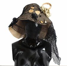 NWT $1400 DOLCE & GABBANA Lace SICILY Straw Crystal Runway Hat Capello 57 / M