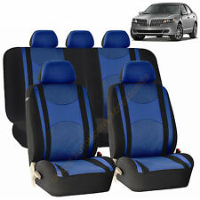 BLUE AIRBAG & SPLIT Bench SEAT COVERS 9pc SET for LINCOLN MKZ MKT MKX
