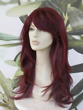 FULL WOMENS LADIES FASHION HAIR WIG BURGUNDY RED/PLUM HEAT RESISTLONG  99J UK