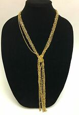 NEW RION GOLD TONE MULTI STRAND CHAIN LINK,STRAND TASSEL LONG  NECKLACE