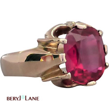 Vintage CHUNKY 9K ROSE GOLD Luscious Candy Red Synthetic RUBY RING, Sz O