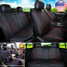US L Size Auto Car 5-Seats PU Leather Seat Cover Front+Rear Neck Lumbar Pillows