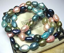 Vintage Jewellery Real Fresh Water Baroque Rainbow Pearl Natural BEAD NECKLACE