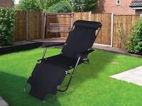 NEW BLACK FOLDING GRAVITY SUN LOUNGER DECK CHAIR RECLINER GARDEN BED RECLINING