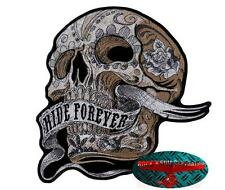 BANNER RIDE FOREVER SKULL Patch Aufnäher Aufbügler Biker Motorrad Rocker Harley