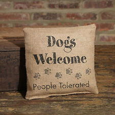 Small Burlap Dogs Welcome Pillow by The Country House