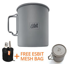 Esbit 750ml Titanium Pot | Premium Bushcraft Survival Army Pan Mug Cooker Stove