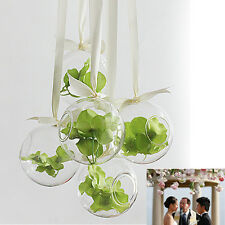 1xHanging Glass Flowers Planter Vase Bottle Container Home Garden Ball Decor