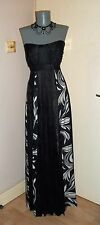 MONSOON BLACK Ivory SILK mix long evening Wedding Formal Party Dress 16 UK