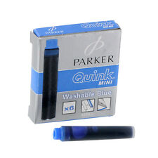 """Parker Quink Ink Mini Washable Ink Cartridge, Blue Ink, 6/Pack"""