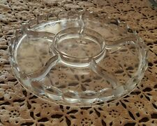 "Vintage ♢ 6 Sectional Heavy Clear Glass ♢ 9.5"" Nappy Bowl Candy Nut Vege Dish ♢"