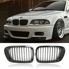 Pair Gloss Black Front Kidney Hood Grill Grille For BMW E46 3Series 2Door 98-01