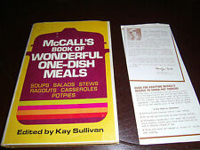McCall's Book of  Wonderful One Dish Meals Cookbook by Kay Sullivan 1972 Rival